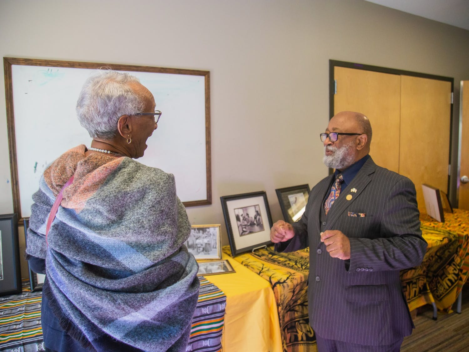 Chapel Hill residents Larry and Karen Reid attend the Sankofa African-American History Museum on Wheels event at the Rogers Road Community Center in Chapel Hill on Sunday, Jan. 19, 2020.