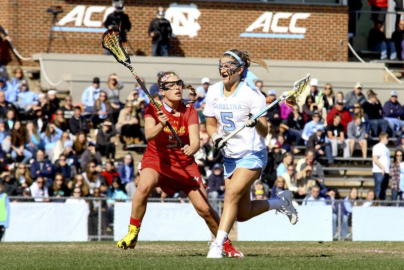 Olivi Ferrucci (5) runs past a Maryland defender Saturday afternoon. Ferrucci had two goals in the Tar Heels loss to the Maryland Terrapins.