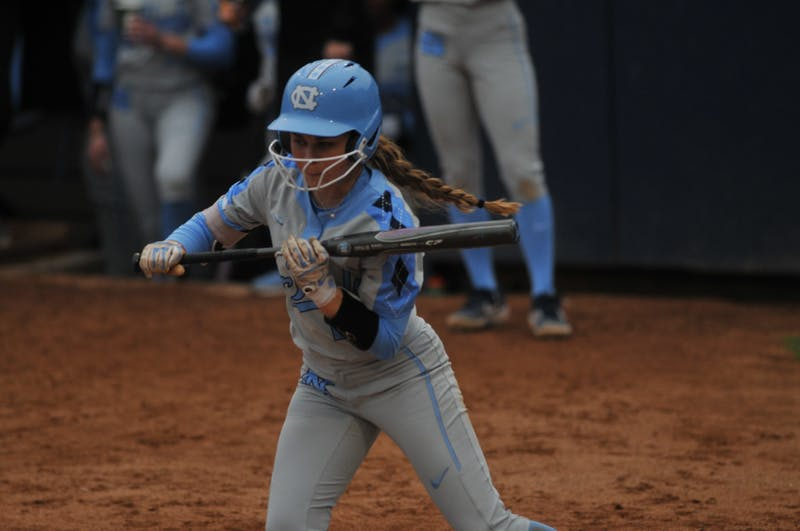 UNC sophomore Abby Settlemyre (29) watches as the pitch goes by her while she was at bat during a game against Elon on Wednesday, Feb. 26, 2020 in G. Anderson Softball Stadium. UNC lost to Elon 2-1.