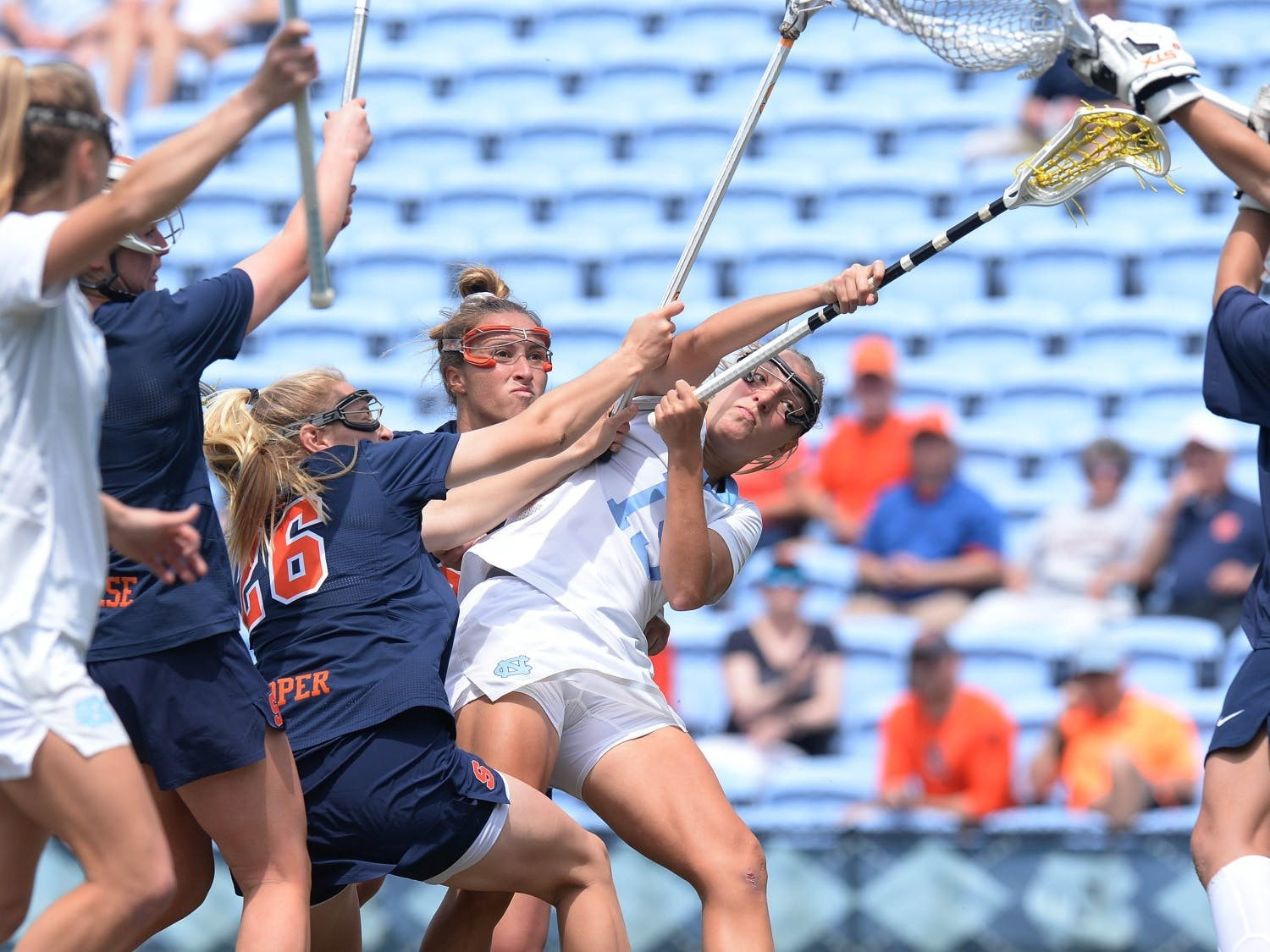 Scottie Rose Growney clashes with defenders during the ACC Tournament Championship at Dorrance Field on Sunday, May 2, 2021. Photo courtesy of Jeff Camarati.