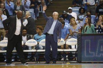 North Carolina men's basketball head coach Roy Williams waves to the crowd at Late Night With Roy on Oct. 14 in the Smith Center.