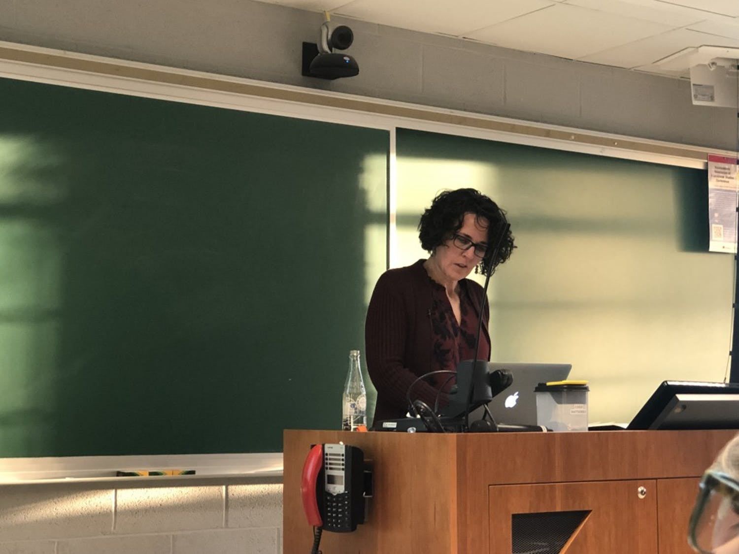 North Carolina State University Professor Paula McAvoy speaks about ethics in the classroom, particularly between instructors and students during discussions on Feb. 25, 2019. Photo by Rachel Crumpler.