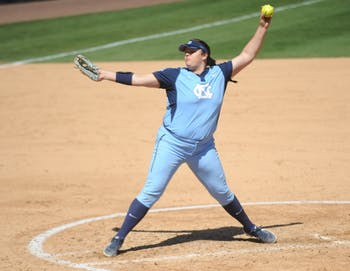 Brittany Pickett (28) pitches during UNC's Softball game vs. Georgia Tech on Sunday, Mar. 24. UNC lost the game 3-2.