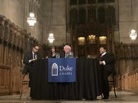 """Duke University Chapel hosted a """"public conversation"""" with U.S. Sen. Bernie Sanders, I-VT, and the Rev. William Barber II moderated by Luke Powery Thursday. The three discussed race, poverty and militarism to commemorate Martin Luther King Jr."""