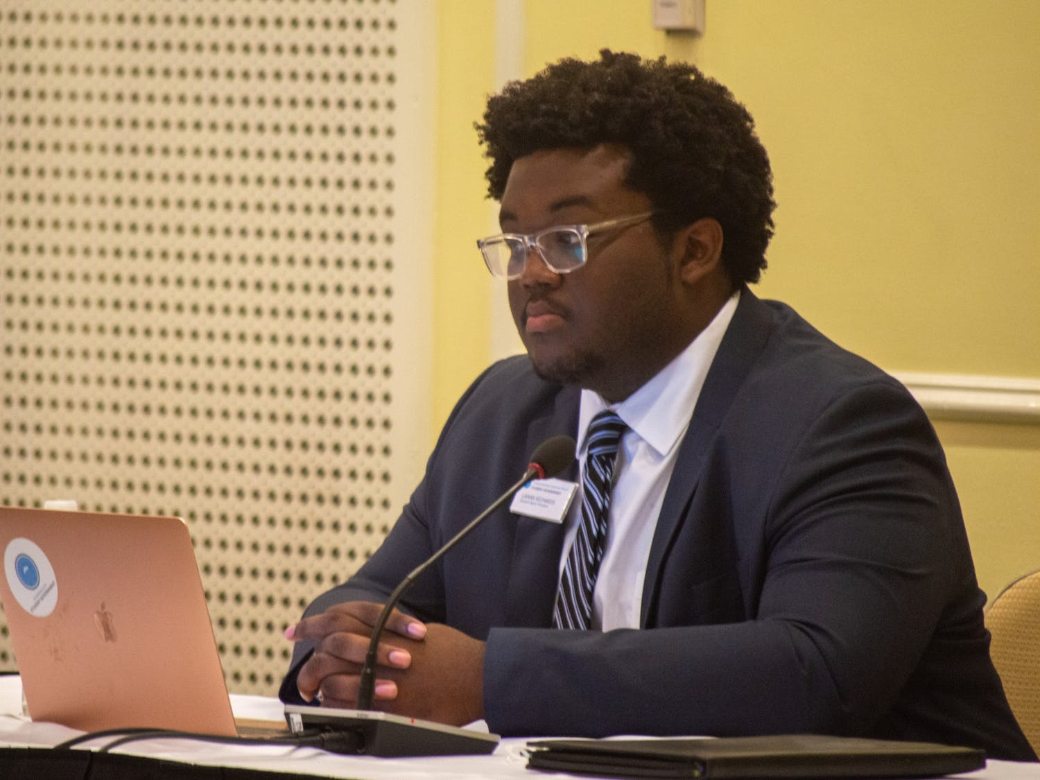 UNC Student Body President Lamar Richards attends the Board of Trustees meeting at the Carolina Inn on Thursday May 20, 2021.