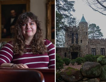 In this diptych, (left) sophomore Hanna Berg poses for a portrait in the Dialectic Chamber in New West on Wednesday, Feb. 26, 2020. Berg uploaded pages of the Order of Gimghoul's initiation rituals in early February and gave a speech about her findings at a Di Phi meeting, and (right) Gimghoul Castle stands just east of UNC Chapel Hill's campus, photographed on Wednesday, Feb. 26, 2020.