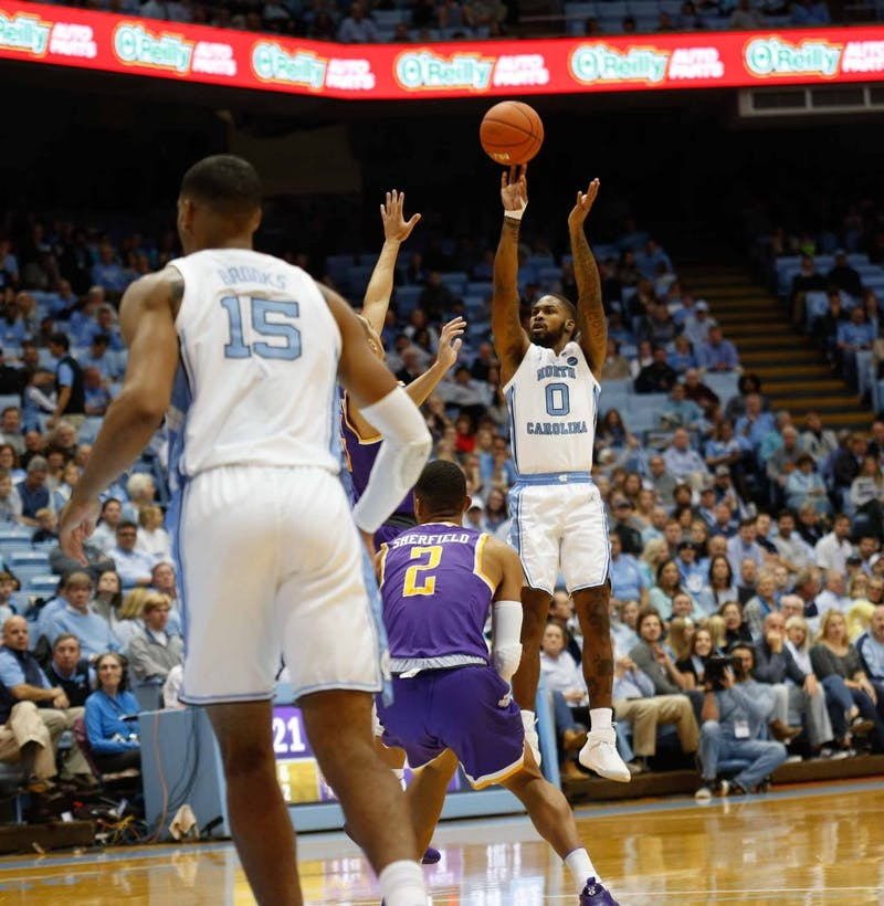 Junior guard Seventh Woods (0) shoots the ball in the Dean Smith Center on Friday, Nov. 16, 2018. UNC beat Tennessee Tech 108-58.
