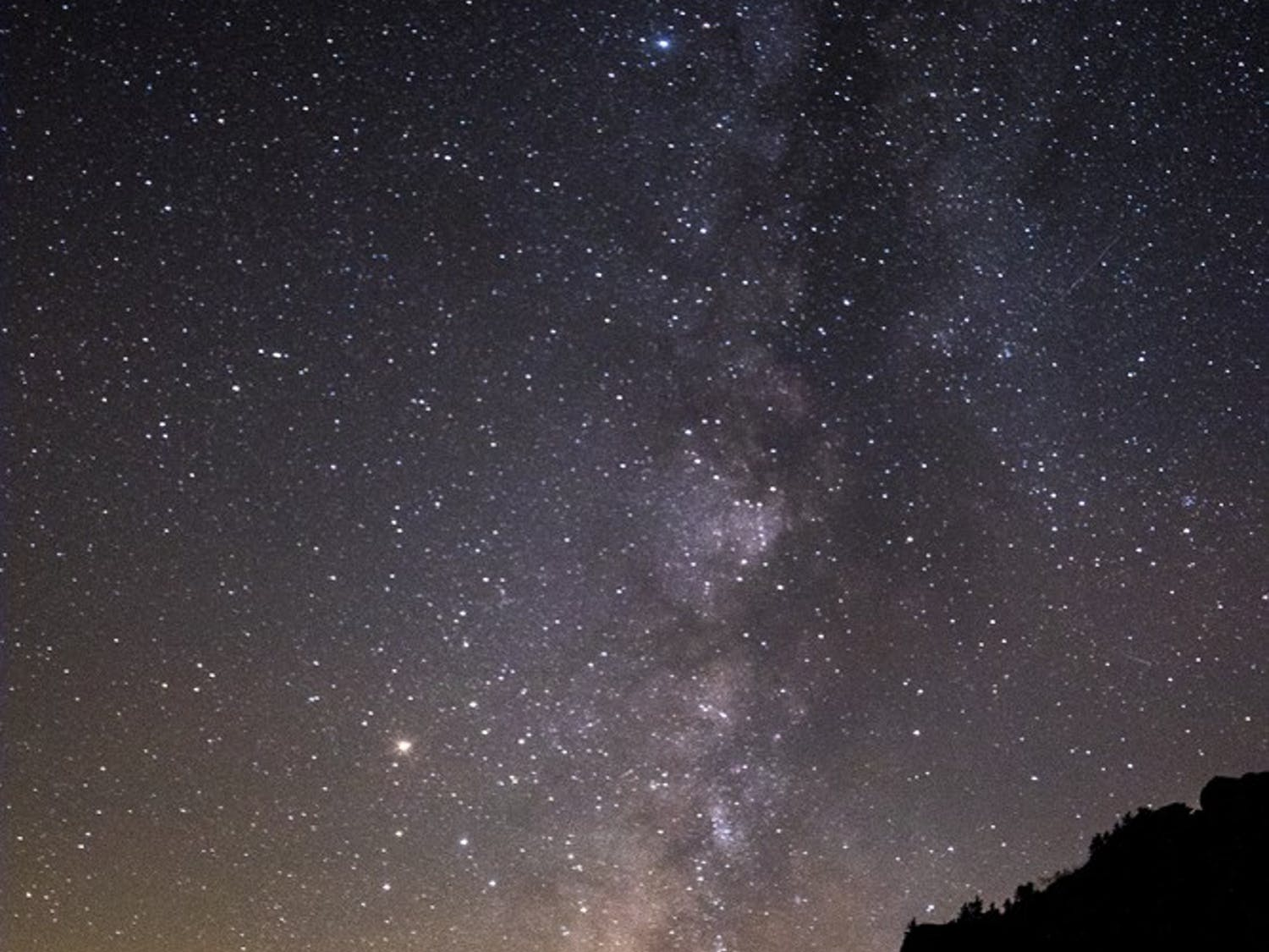 The Milky way rises above the Appalachians Mountains on the Blue Ridge Parkway in Western North Carolina.