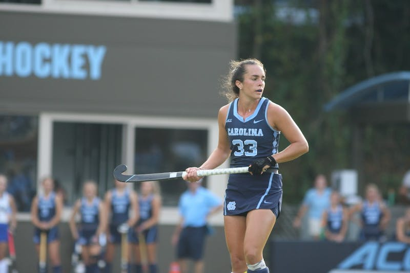Senior forward Marissa Creatore (33) during the field hockey game at UNC on Friday, Oct. 4, 2019. UNC beat Duke 2-0, marking their 33rd consecutive victory.