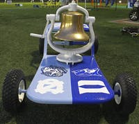 UNC and Duke decided to change the color scheme of the victory bell platform, and say no to post game spray-painting.