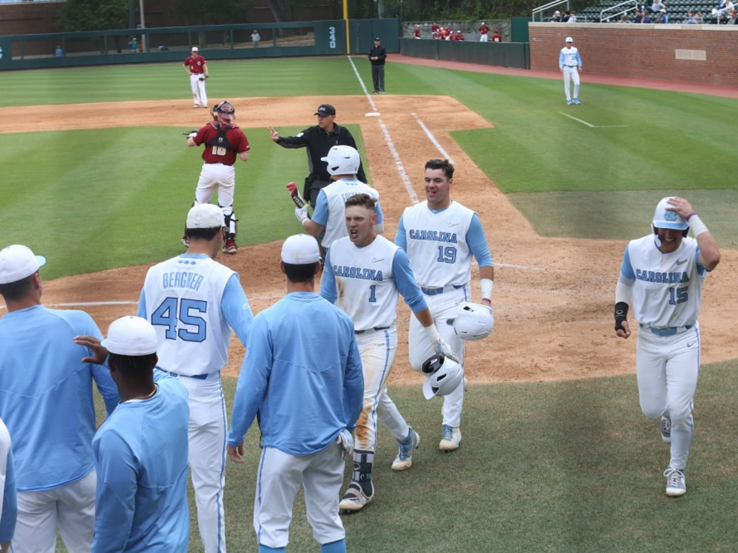 First-year Danny Serretti (1) celebrates a home run during the Tar Heels' third baseball game against Boston College on Easter weekend, 2019.