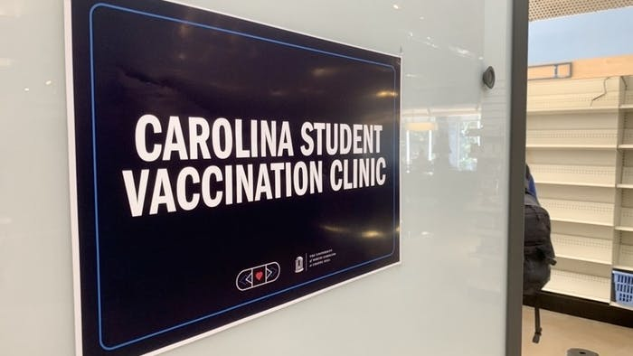 A sign at the entrance of the Carolina Student Vaccination Clinic by the pharmacy in the Student Union pictured on Sept. 23, 2021.