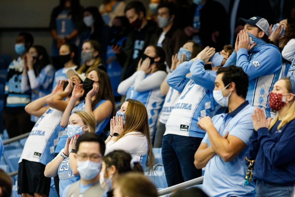 UNC fans celebrate in the Dean Dome on March 6, 2021. The Tar Heels beat the Blue Devils 91-73.