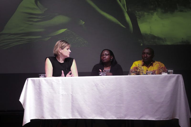 Lisa Shannon,Melvine Ouyo,Amos Simpano discuss the Global Gag Rule and share their stories on reproductive healthcare Wednesday night in the Sonja Haynes Stone Center.