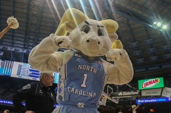 Rameses hypes up the crowd during the exhibition game against Winston Salem State in the Smith Center on Friday, Nov. 1, 2019. UNC beat WSSU 96-61.
