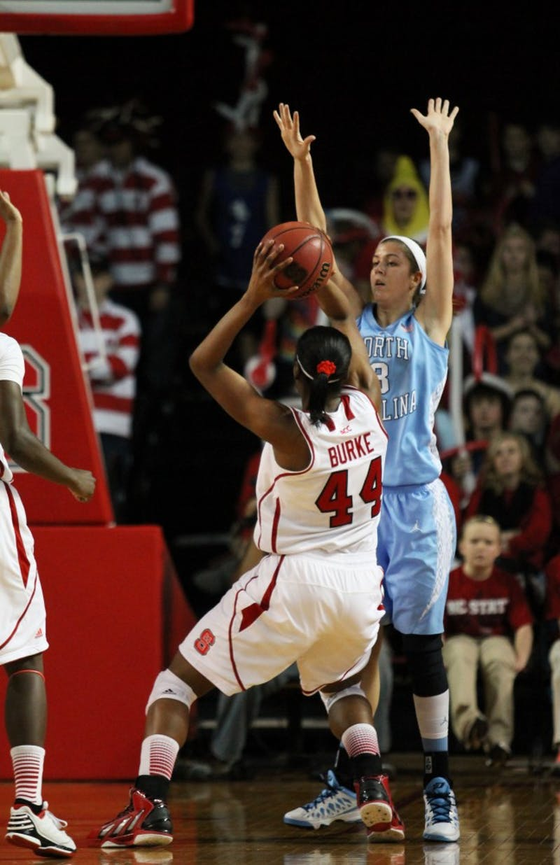 Megan Buckland defends against an NC State drive.