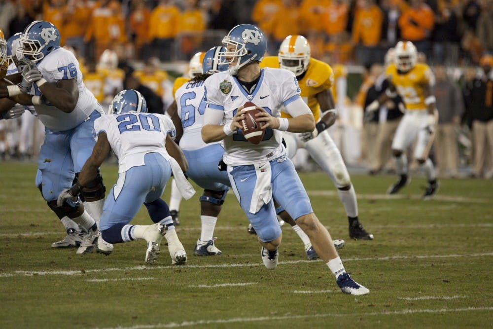 <p>TJ Yates threw for 234 yards in the Franklin American Mortgage Company Music City Bowl on Thursday night.</p>