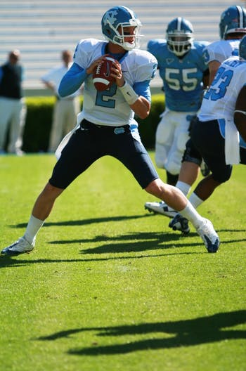 Redshirt freshman quarterback Bryn Renner went 15-of-21 for 184 yards and one touchdown at UNC's Spring Game.  DTH/ BJ Dworak