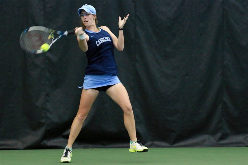 Junior Whitney Kay returns the ball during a matchup against Duke on Wednesday.