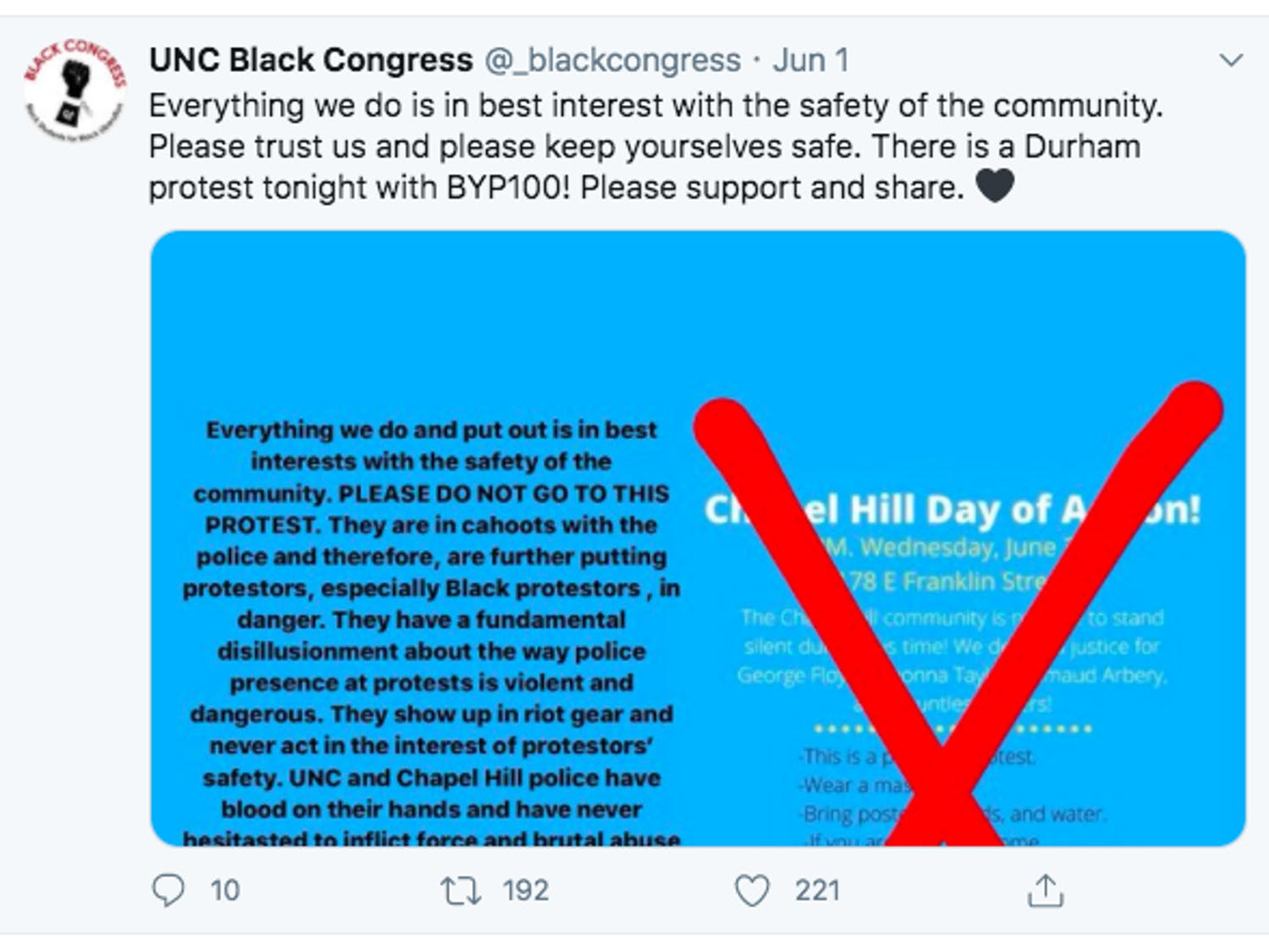 UNC Black Congress's initial Tweet on Monday, June 1, 2020 warning against attending the Chapel Hill Day of Action Protest that occurred on Wednesday, June 3. The organization encouraged that people attend Durham's protest on Monday, June 1, and later arranged their own protest on Friday, June 5.