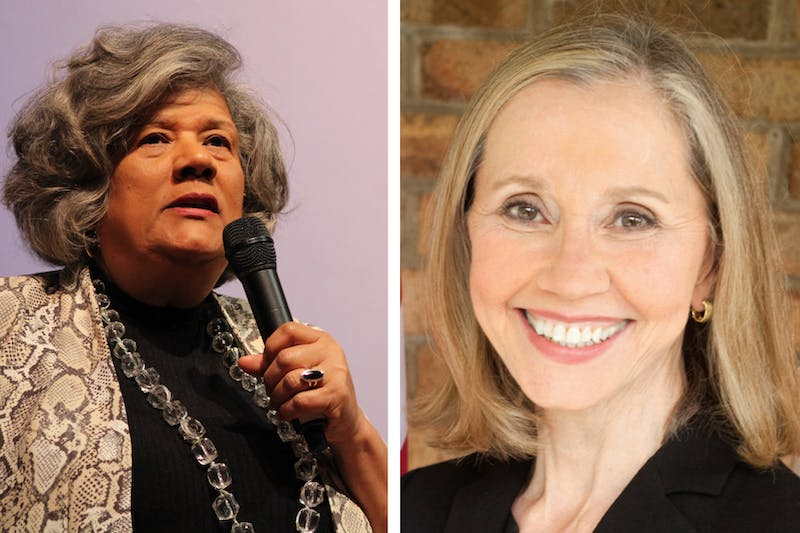 In this diptych: Left: (DTH/Faith Coleman) Yvonne Holley speaks on why she is running for Lieutenant Governor during the Black Women Lead event held by the UNC Black Student Movement in the Stone Center on Monday, Feb. 10, 2020; Right: (Photo courtesy of Terry Van Duyn) Terry Van Duyn