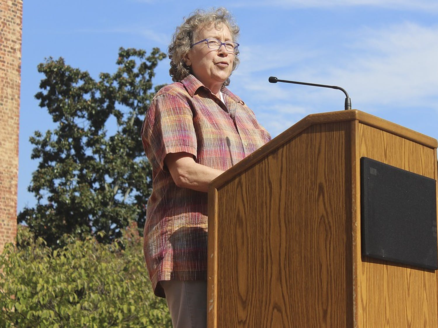 """Professor Altha Cravey spoke on behalf of UNC's Progressive Faculty Network at Wednesday's rally, """"Speaking Back to the Wainstein Report."""""""