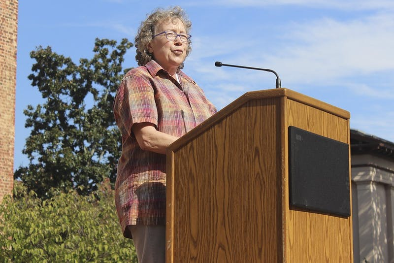 "Professor Altha Cravey spoke on behalf of UNC's Progressive Faculty Network at Wednesday's rally, ""Speaking Back to the Wainstein Report."""