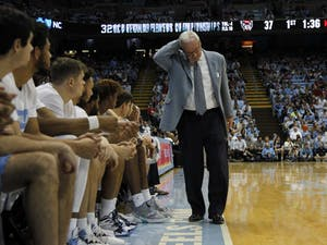 Head Coach Roy Williams reacts to the game against N.C. State in the Smith Center on Tuesday, Feb. 25, 2020. UNC beat N.C. State 85-79.3