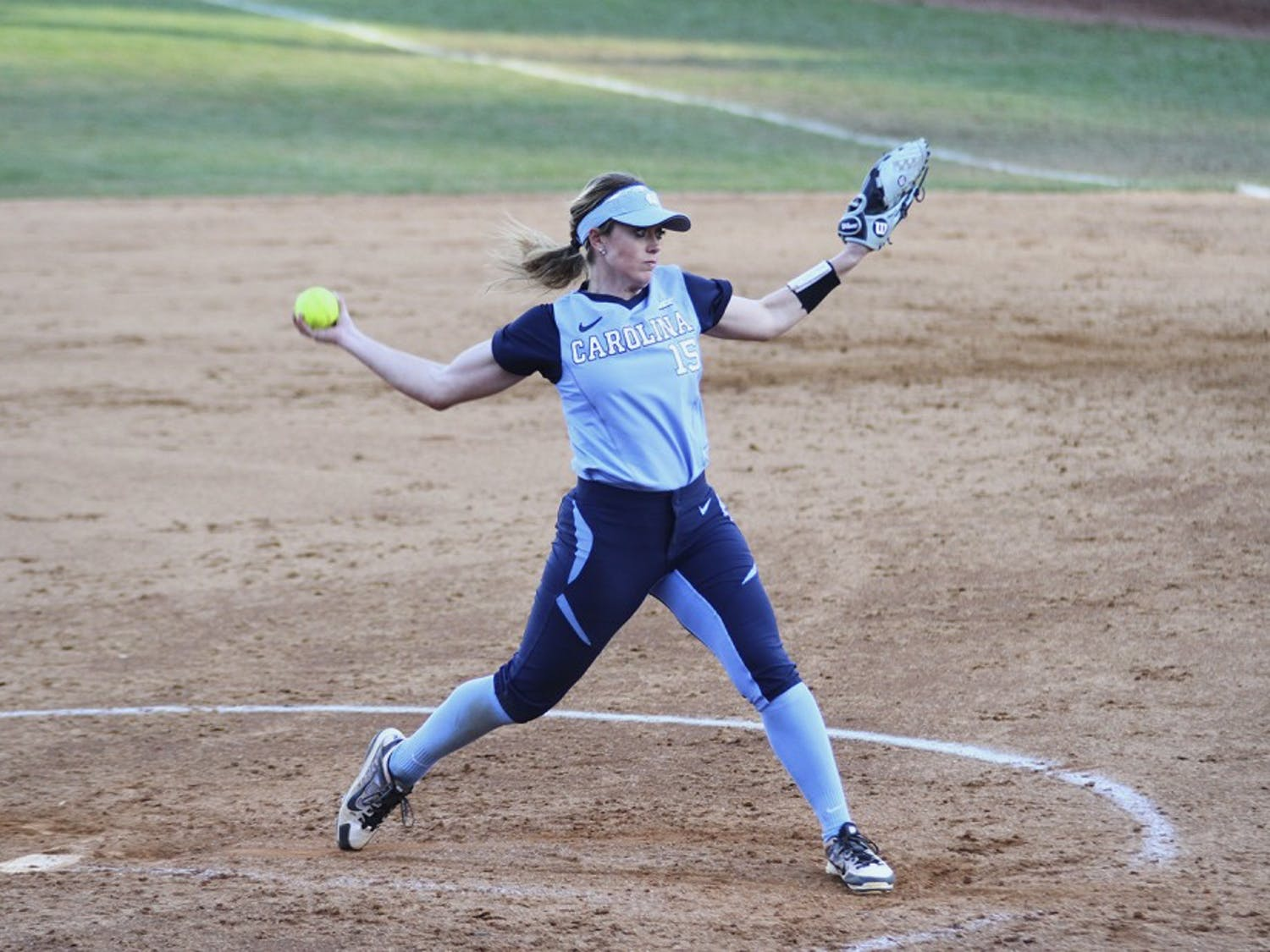 Kendra Lynch throws a pitch during North Carolina's 8-0 shutout against Georgetown on Feb. 28.