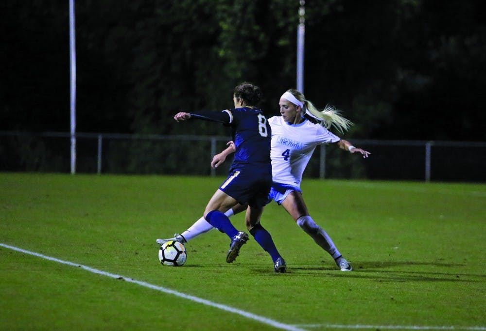 North Carolina women's soccer steals a tie in final seconds of regular-season finale