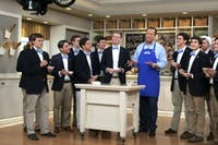 "UNC's Clef Hangers perform on the set of QVC's ""In the Kitchen with David,"" hosted by former Clef Hanger David Venable. Courtesy of Channing Mitzell."