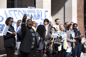 The Community Empowerment Fund Advocacy Choir sings at Souls to the Polls at the Rally Peace and Justice Plaza on Franklin Street on Sunday Oct. 21, 2018. before marching to vote for Chapel Hill's affordable housing bond.