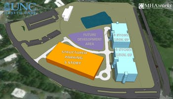 The concept plans indicate construction will occur in a phase system. The proposed first phase will be centered around building one of the two proposed six-story buildings. Photo Courtesy of the Tom Hughes.