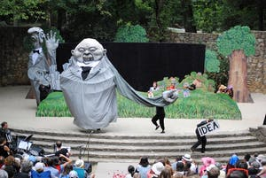 """Members of Paperhand Puppet Intervention performed the puppet show """"A Drop in the Bucket: The Big Dreams of Tiny Things"""" in Forest Theater in August of 2015. Photo by Veronica Burkhart."""
