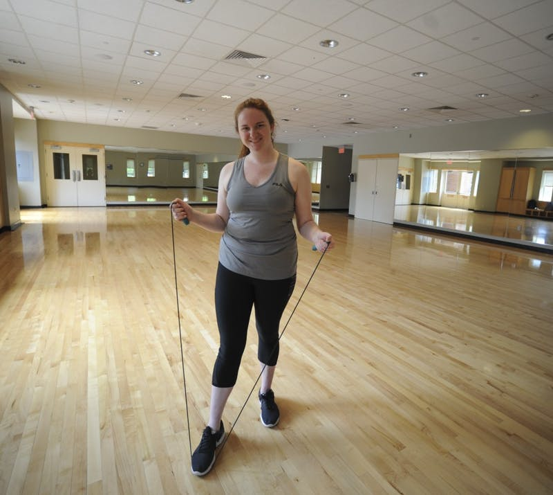 First-year music major Lauren Ragsdale likes to use the on-campus gyms to jump rope as a way to stay active. She is pictured preparing to start a jump-rope based workout routine in a studio room in Ram's Head Gym at the University of North Carolina at Chapel Hill on Wednesday April, 24, 2019.