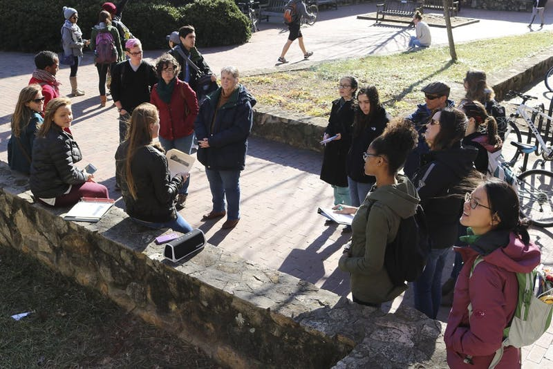 """The Native American tour follows the impact Native American students have had on campus, including the art installation """"the Gift"""" by local artist Senora Lynch, located to the right of the Union."""
