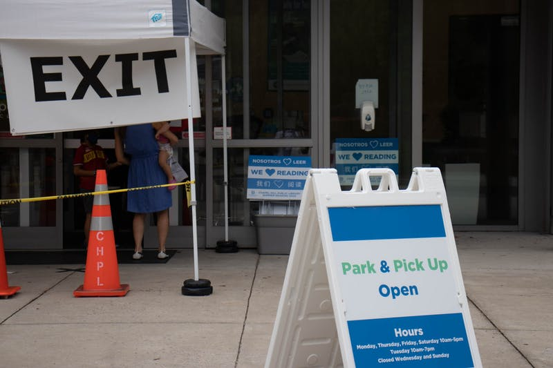Chapel Hill Public Library is closed to the public due to COVID-19 and only operates using a drive-thru pick-up and drop-off system, as pictured here on Sept. 1, 2020.