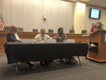 (From left) Ted Shaw, Mark Dorosin and Stephanie Perry-Terry speak at a panel.The Orange County Human Rights Commission held a panel on Monday, Oct. 28, 2019 at the Whitted Building in Hillsborough.