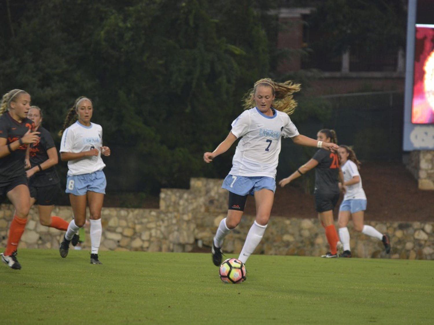 The UNC women's soccer team defeated Virginia Tech 3-0 Thursday evening at Fetzer Field.