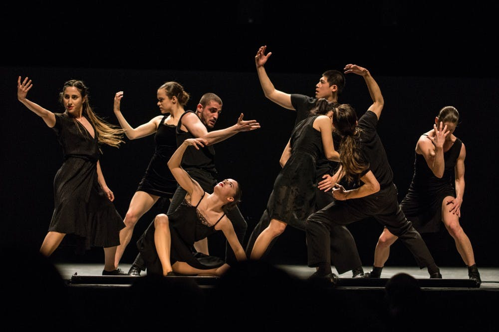 """<p>The Batsheva Dance Company performs """"Venezuela"""" at Memorial Hall Tuesday, April 2, 2019. &nbsp;As a part of Graduate Student Appreciation Week 2019, UNC graduate students were invited to watch the dance team perform and provided with free entry to the show.</p>"""