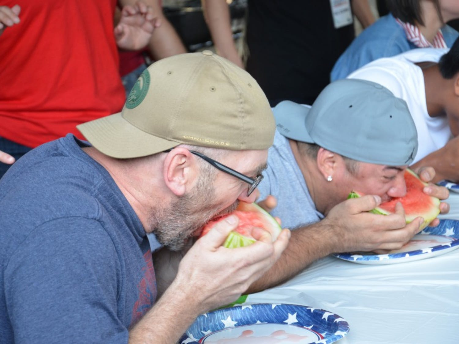 Chapel Hill resident Richard Crump competes in the 2017 DSI Watermelon Eating Contest.