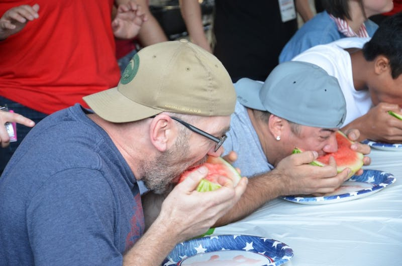 Chapel Hill resident Richard Crump competes in the 2017DSI Watermelon Eating Contest.