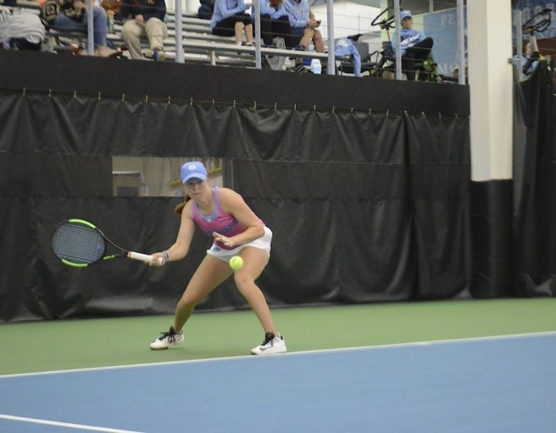 Sara Daavettila takes a forehand in her first-year season (2016).