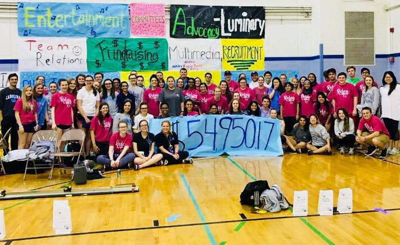 Relay for Life reveals their yearly total of $54,950, all of which will go to the American Cancer Society. Photo by Anna Silver.