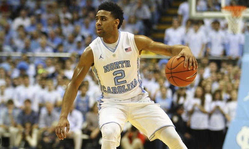 Joel Berry makes a push against Maryland towards the basket