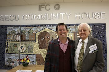 Inter-Faith Council opening house ceremony (Left, Michael Reinke, IFC Executive Director; Right, Robert Seymour, IFC Honorary Life Board Member)