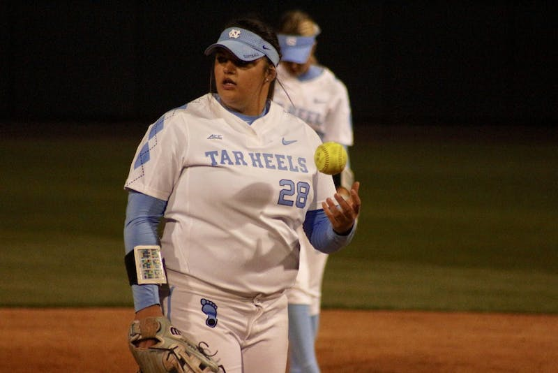 Sophomore pitcher Brittany Pickett (28) prepares for an inning against N.C. State on April 16 in Anderson Stadium.