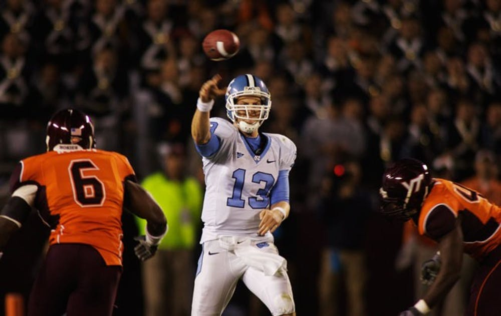 Quarterback T.J. Yates and the Tar Heels are coming off perhaps their biggest win of the season. DTH File/Andrew Dye