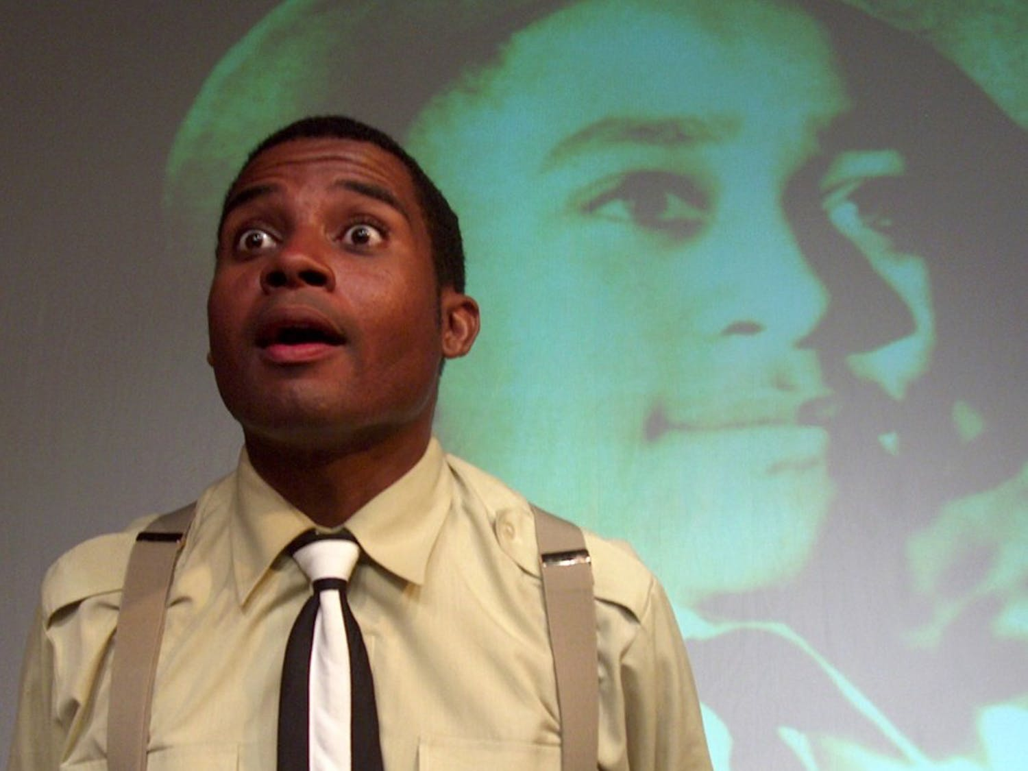 "Mike Wiley performs in ""Dar He: The Story of Emmett Till."" Wiley's new play, ""The Parchment Hour,"" is based on the 1961 Freedom Riders."