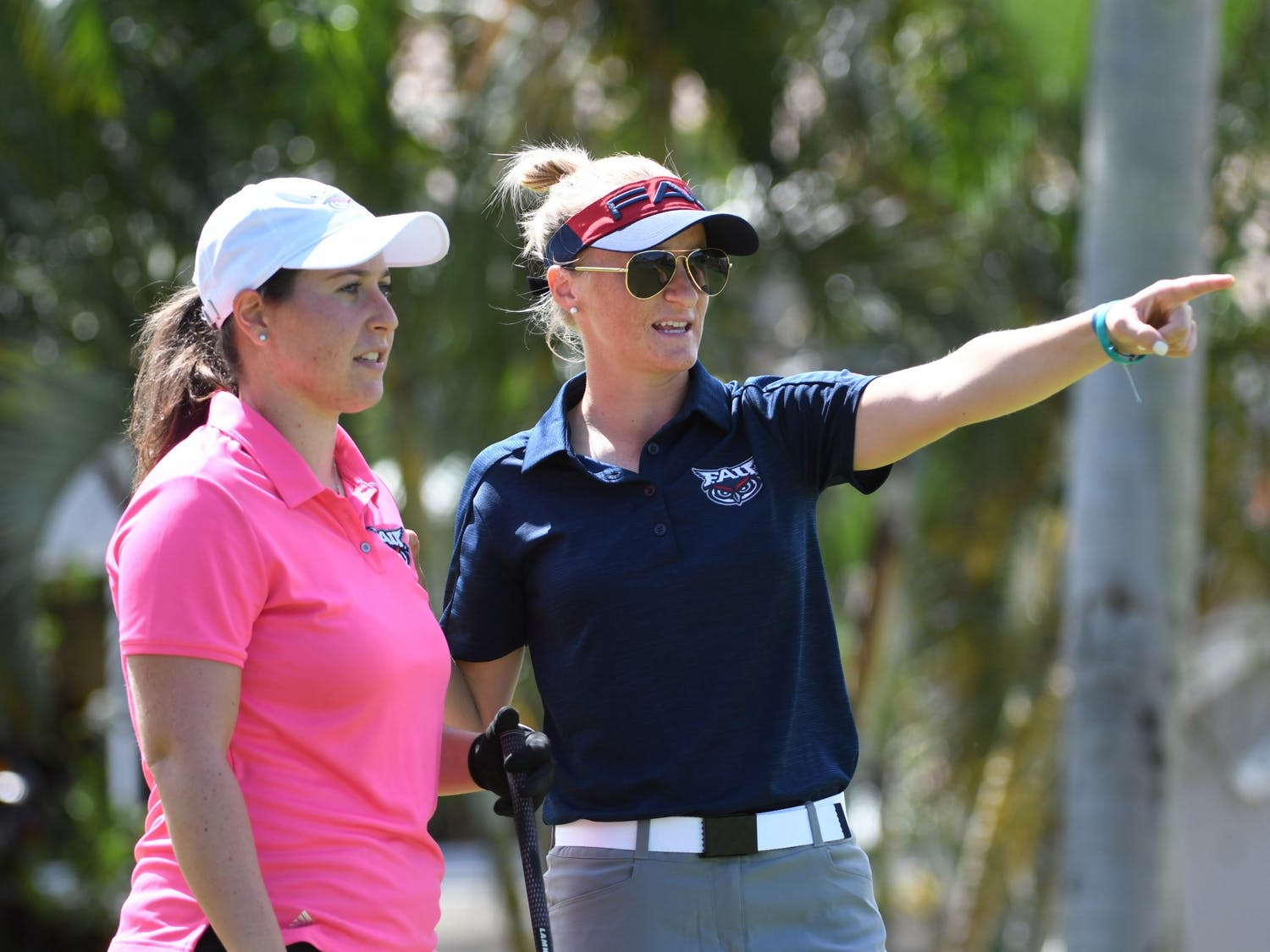 UNC's new women's golf head coach, Aimee Neff (right), smiles at the 2020 FAU Women's Golf Photo Day. Photo courtesy of JC Ridley.